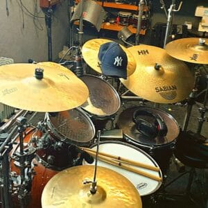Photograph of Paul Hose's drum kit in the recording studio